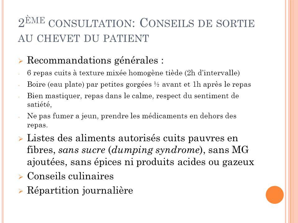 2ème consultation: Conseils de sortie au chevet du patient