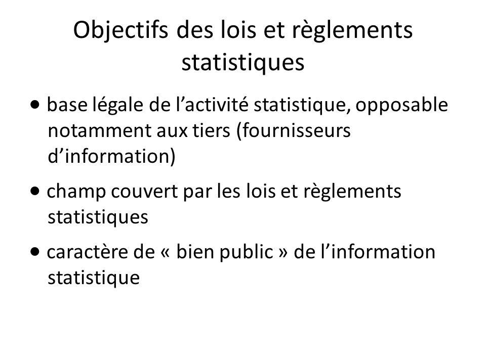 Objectifs des lois et règlements statistiques