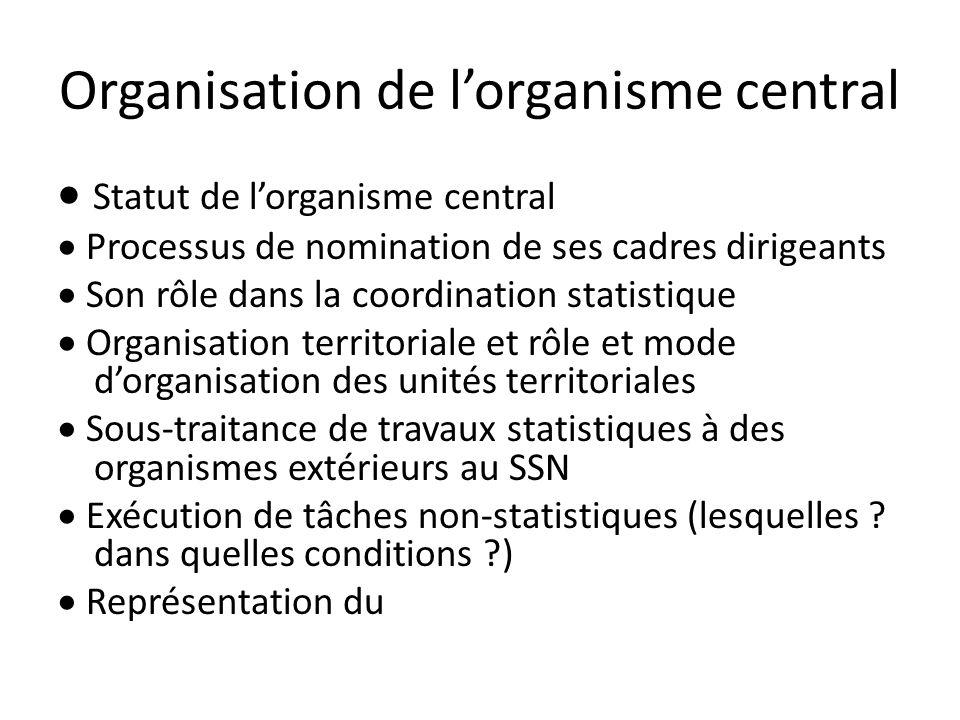 Organisation de l'organisme central