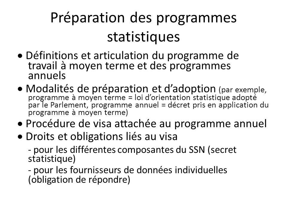 Préparation des programmes statistiques