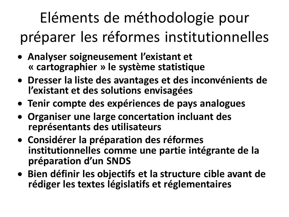 Eléments de méthodologie pour préparer les réformes institutionnelles