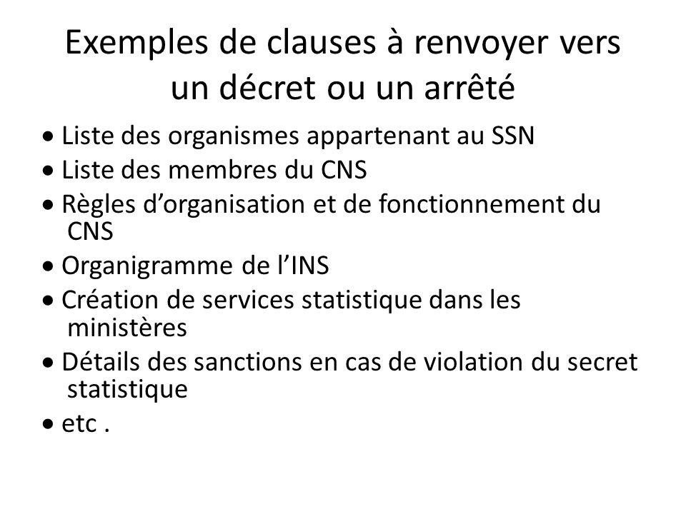 Exemples de clauses à renvoyer vers un décret ou un arrêté