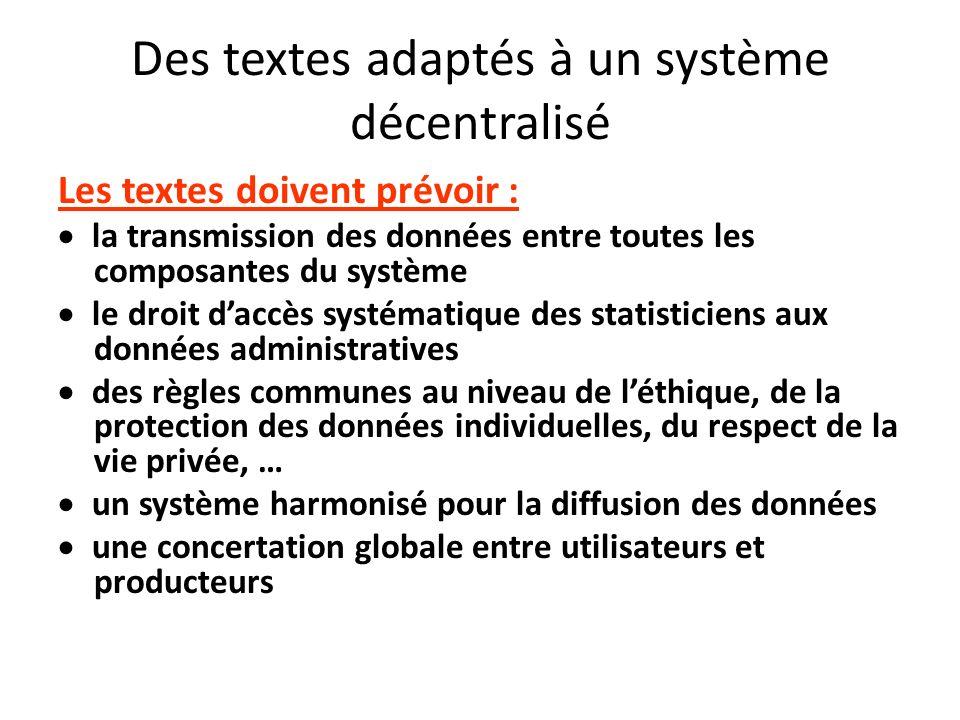 Des textes adaptés à un système décentralisé