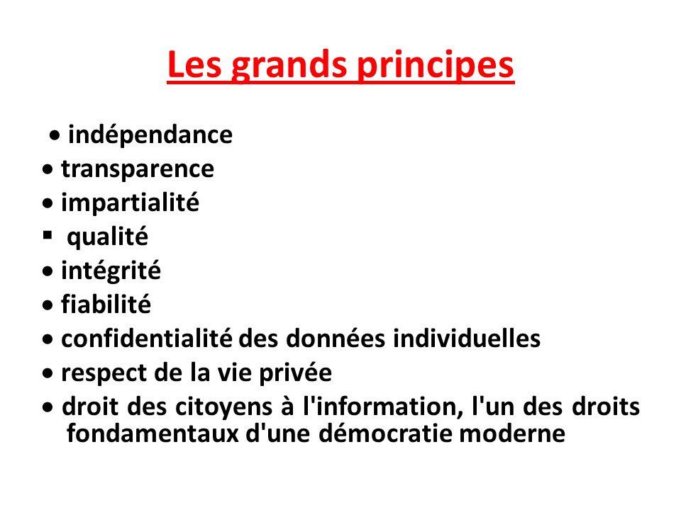 Les grands principes · indépendance · transparence · impartialité