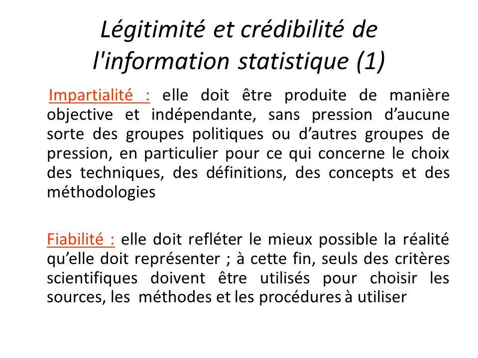 Légitimité et crédibilité de l information statistique (1)
