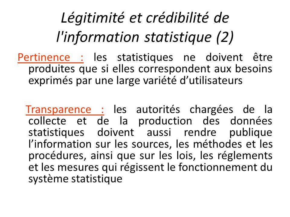 Légitimité et crédibilité de l information statistique (2)