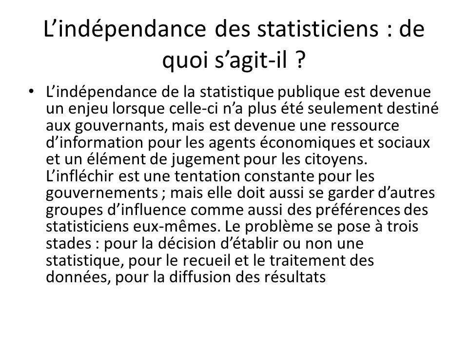L'indépendance des statisticiens : de quoi s'agit-il