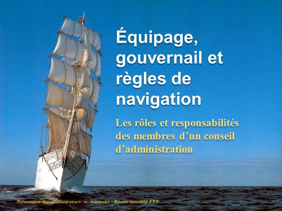 Équipage, gouvernail et règles de navigation