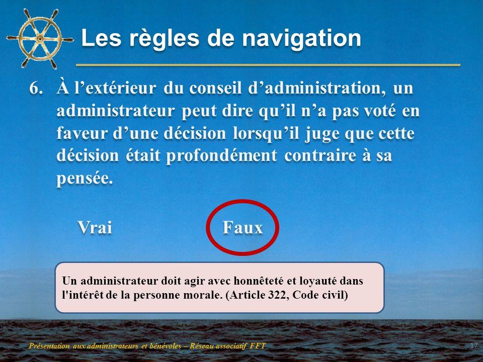 Les règles de navigation