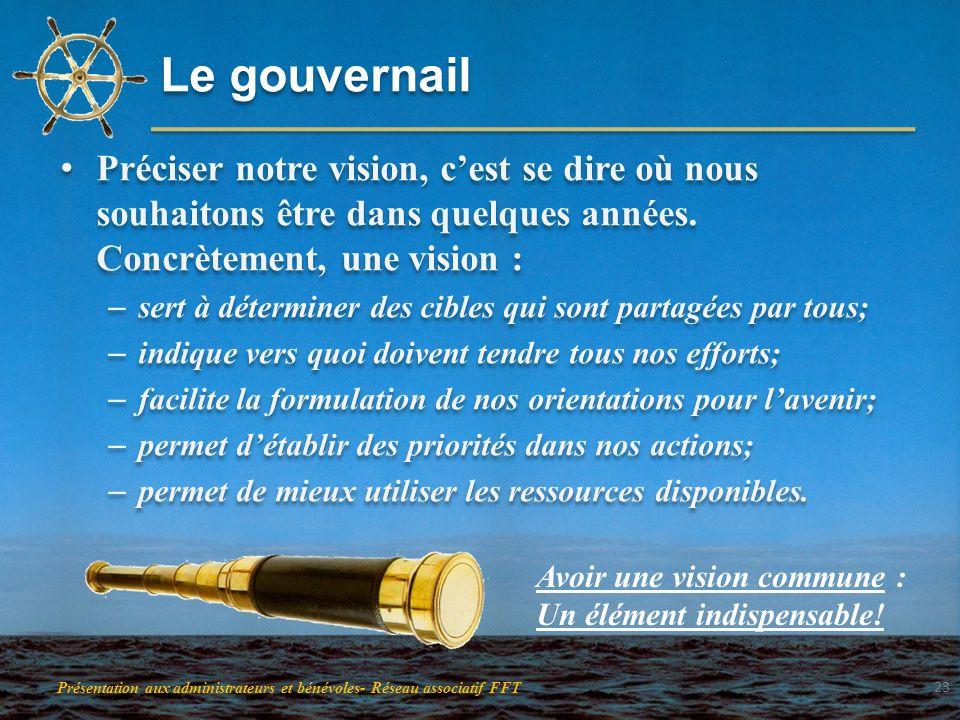 Le gouvernail Préciser notre vision, c'est se dire où nous souhaitons être dans quelques années. Concrètement, une vision :