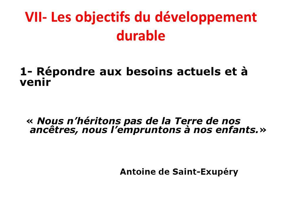 VII- Les objectifs du développement durable