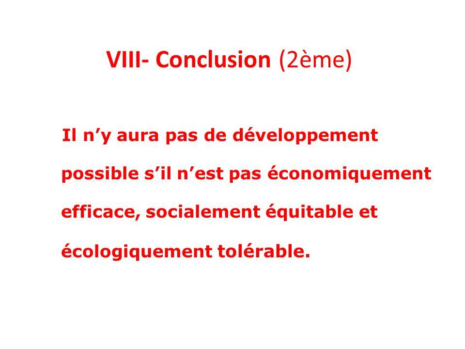 VIII- Conclusion (2ème)