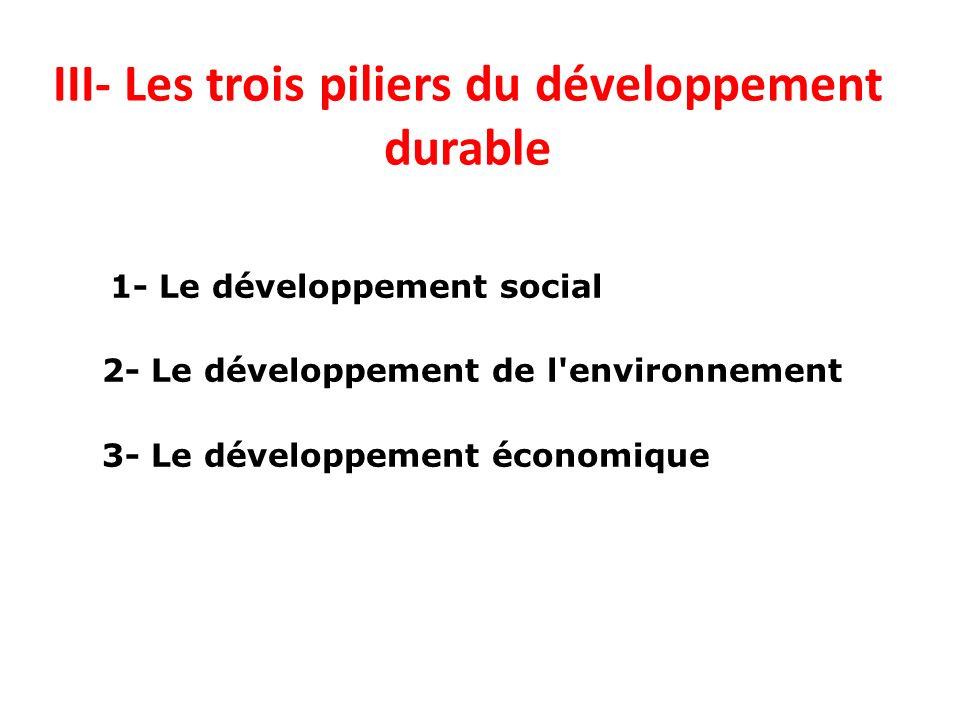 III- Les trois piliers du développement durable