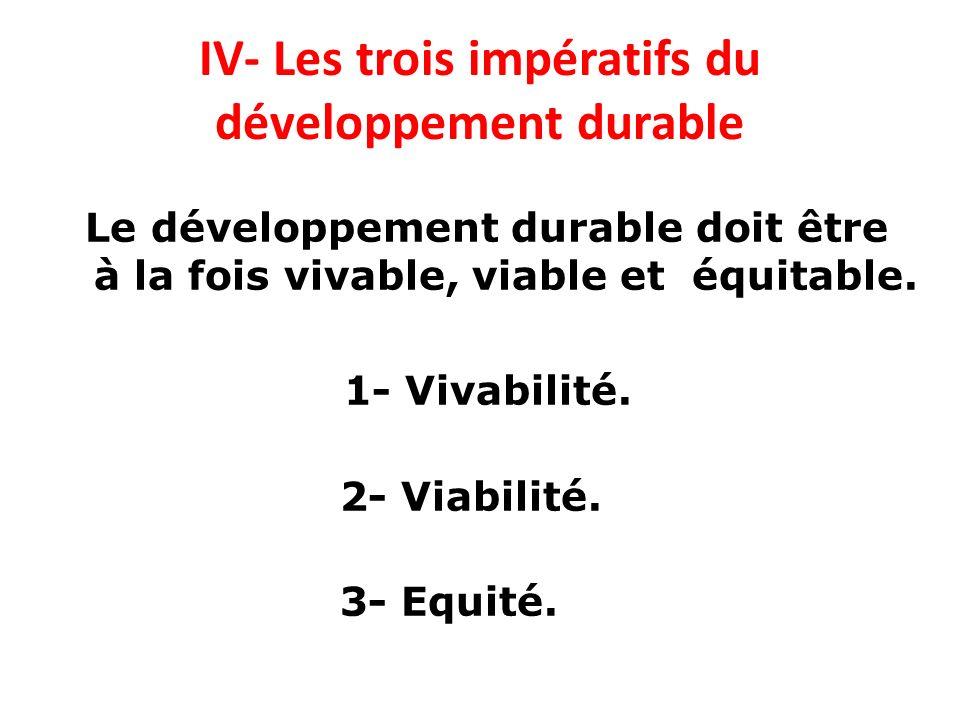 IV- Les trois impératifs du développement durable