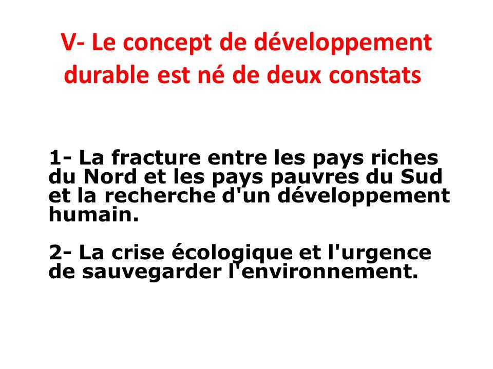 V- Le concept de développement durable est né de deux constats