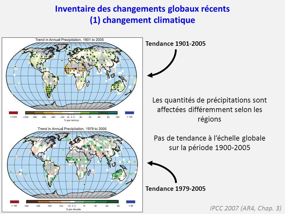 Inventaire des changements globaux récents (1) changement climatique