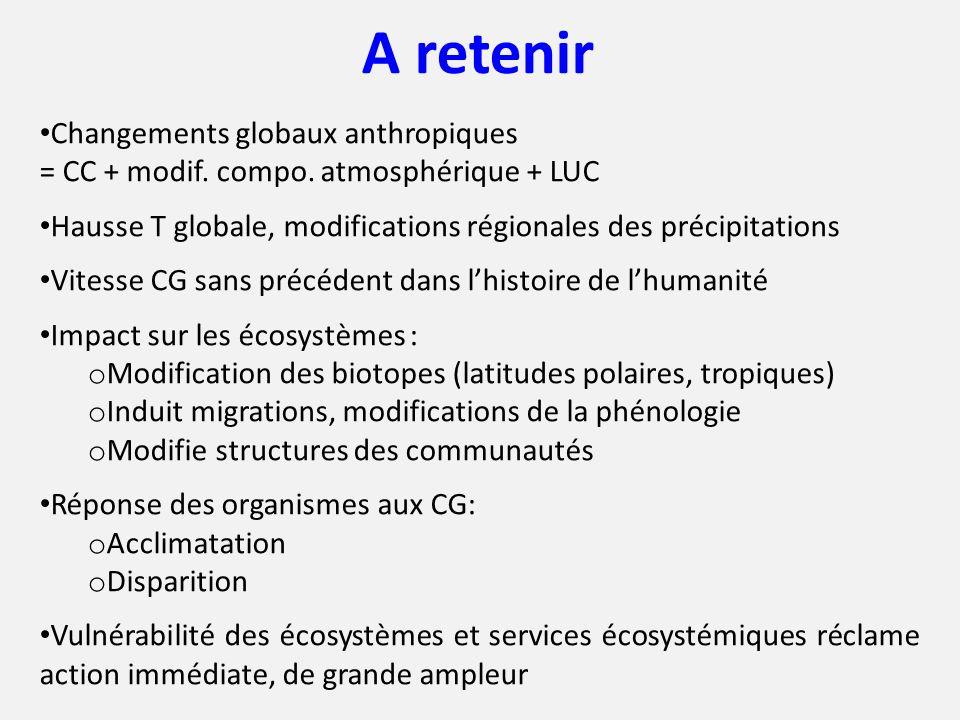 A retenir Changements globaux anthropiques