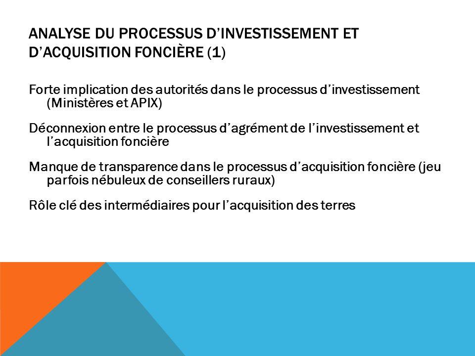 Analyse du processus d'investissement et d'acquisition foncière (1)
