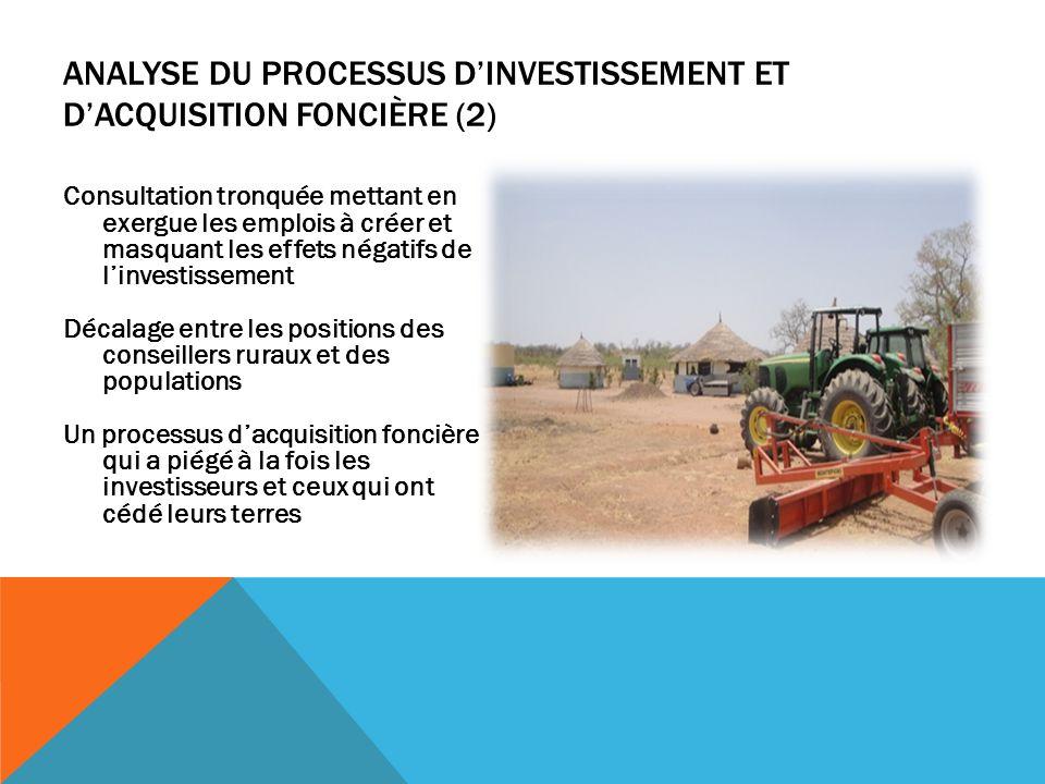 Analyse du processus d'investissement et d'acquisition foncière (2)