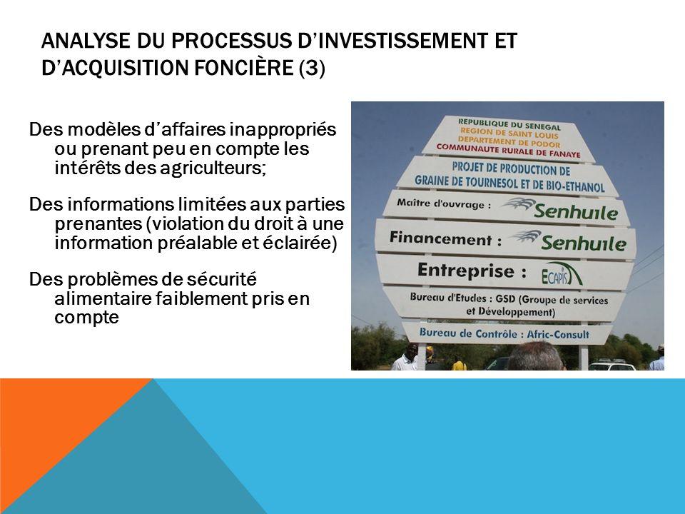 Analyse du processus d'investissement et d'acquisition foncière (3)