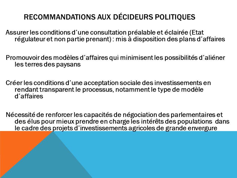 Recommandations aux décideurs politiques