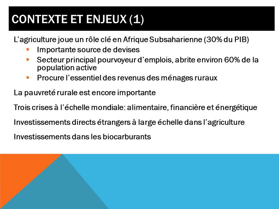 Contexte et enjeux (1) L'agriculture joue un rôle clé en Afrique Subsaharienne (30% du PIB) Importante source de devises.