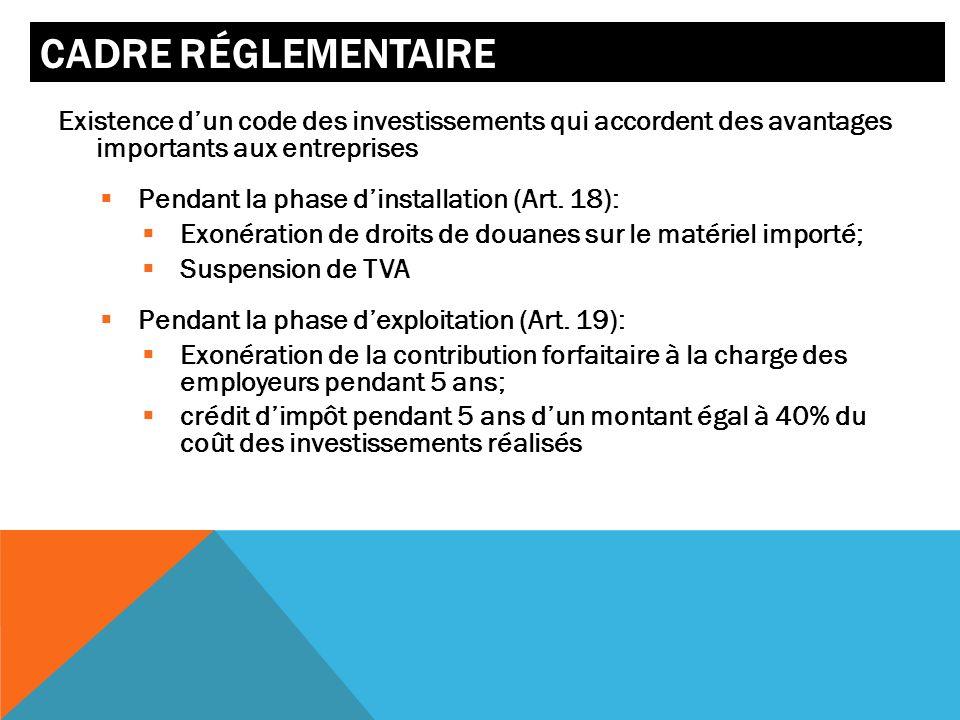Cadre réglementaire Existence d'un code des investissements qui accordent des avantages importants aux entreprises.