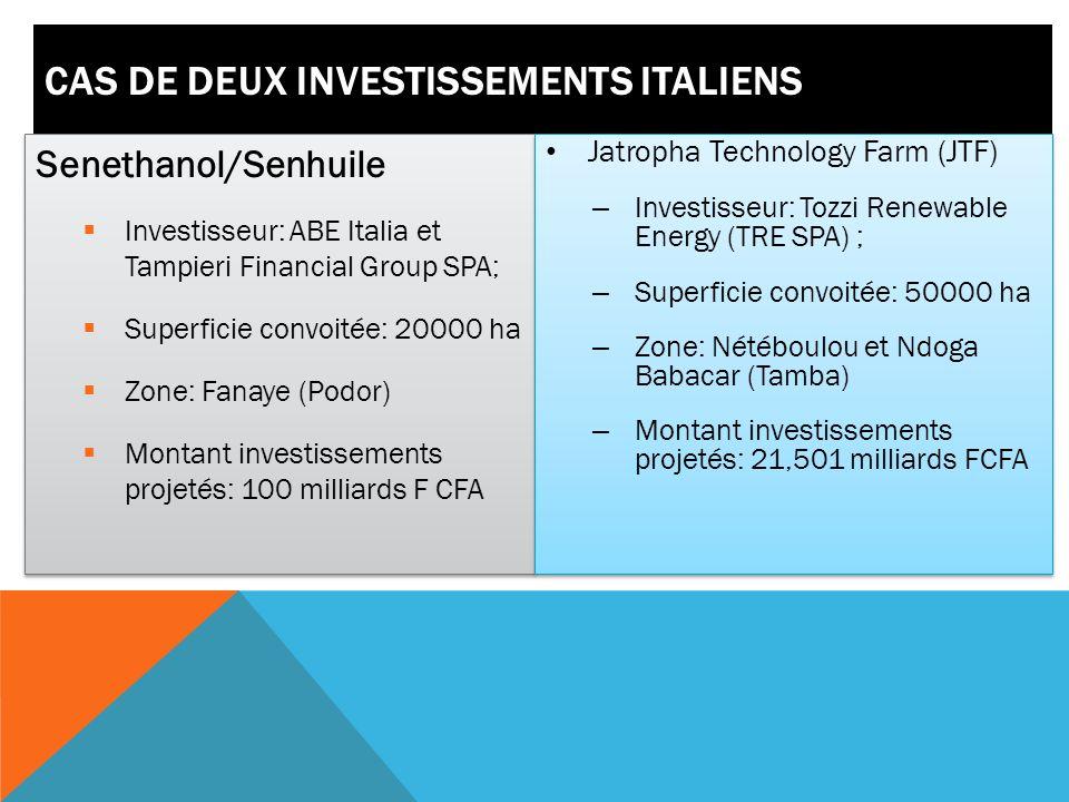 Cas de deux investissements italiens