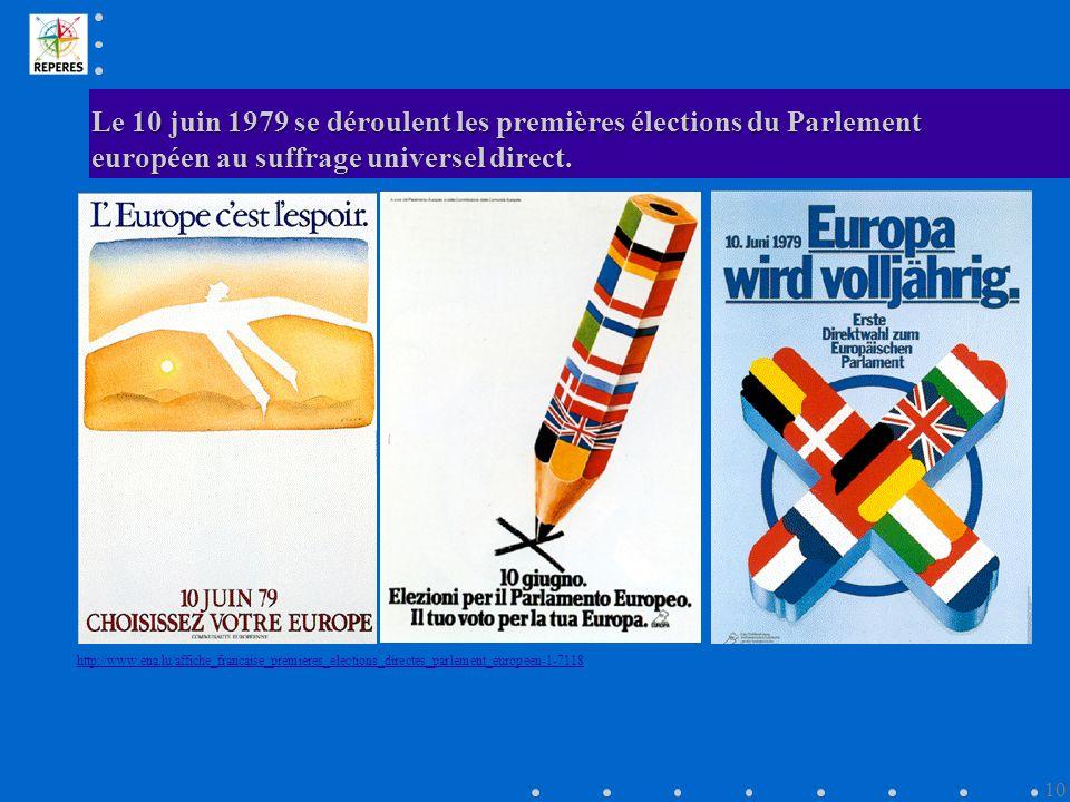 Le 10 juin 1979 se déroulent les premières élections du Parlement européen au suffrage universel direct.