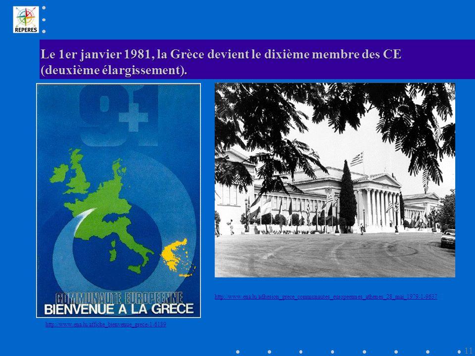 Le 1er janvier 1981, la Grèce devient le dixième membre des CE (deuxième élargissement).