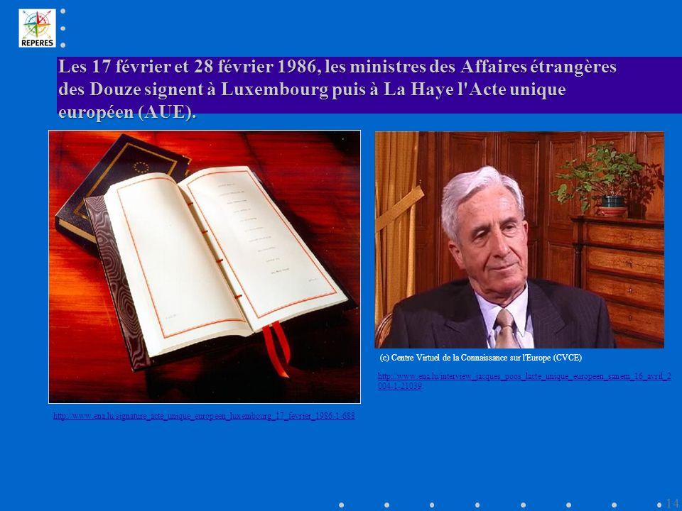 Les 17 février et 28 février 1986, les ministres des Affaires étrangères des Douze signent à Luxembourg puis à La Haye l Acte unique européen (AUE).