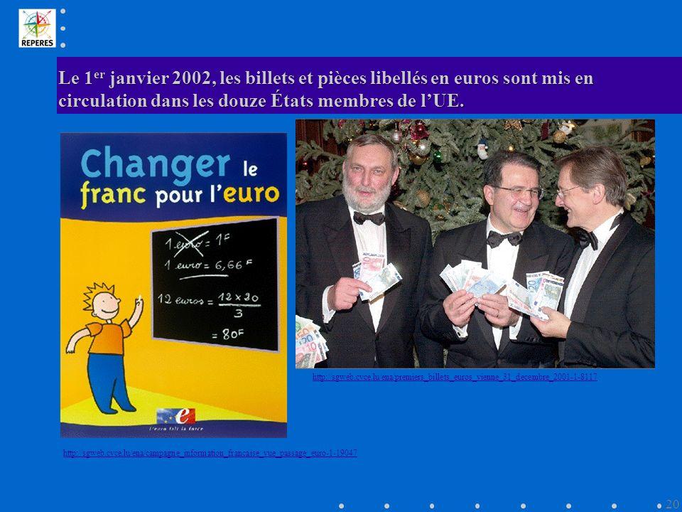 Le 1er janvier 2002, les billets et pièces libellés en euros sont mis en circulation dans les douze États membres de l'UE.