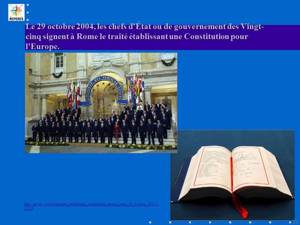 Le 29 octobre 2004, les chefs d État ou de gouvernement des Vingt-cinq signent à Rome le traité établissant une Constitution pour l Europe.