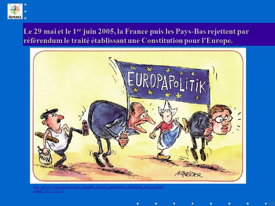 Le 29 mai et le 1er juin 2005, la France puis les Pays-Bas rejettent par référendum le traité établissant une Constitution pour l Europe.