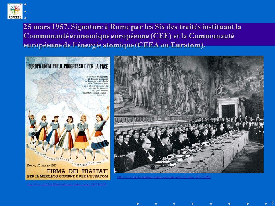 25 mars 1957. Signature à Rome par les Six des traités instituant la Communauté économique européenne (CEE) et la Communauté européenne de l énergie atomique (CEEA ou Euratom).