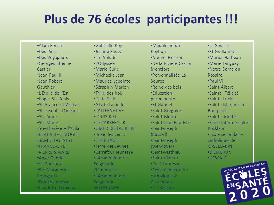 Plus de 76 écoles participantes !!!
