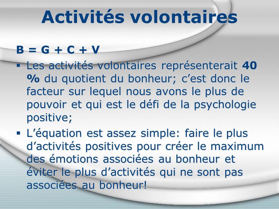 Activités volontaires