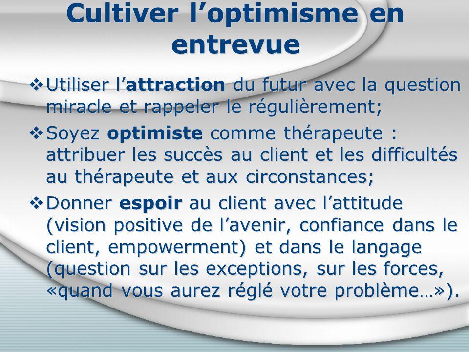 Cultiver l'optimisme en entrevue