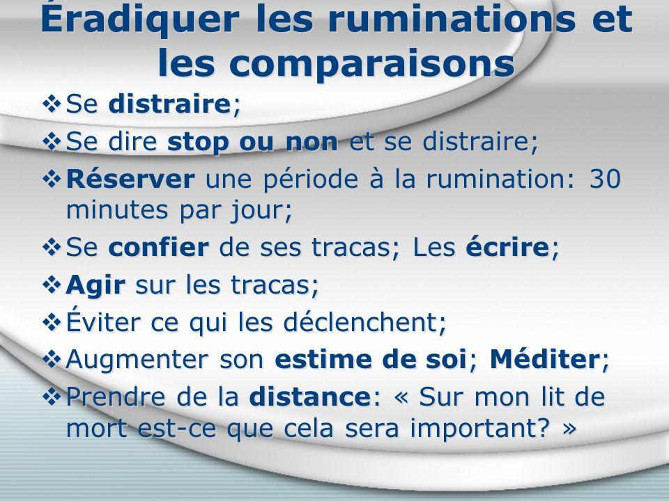Éradiquer les ruminations et les comparaisons