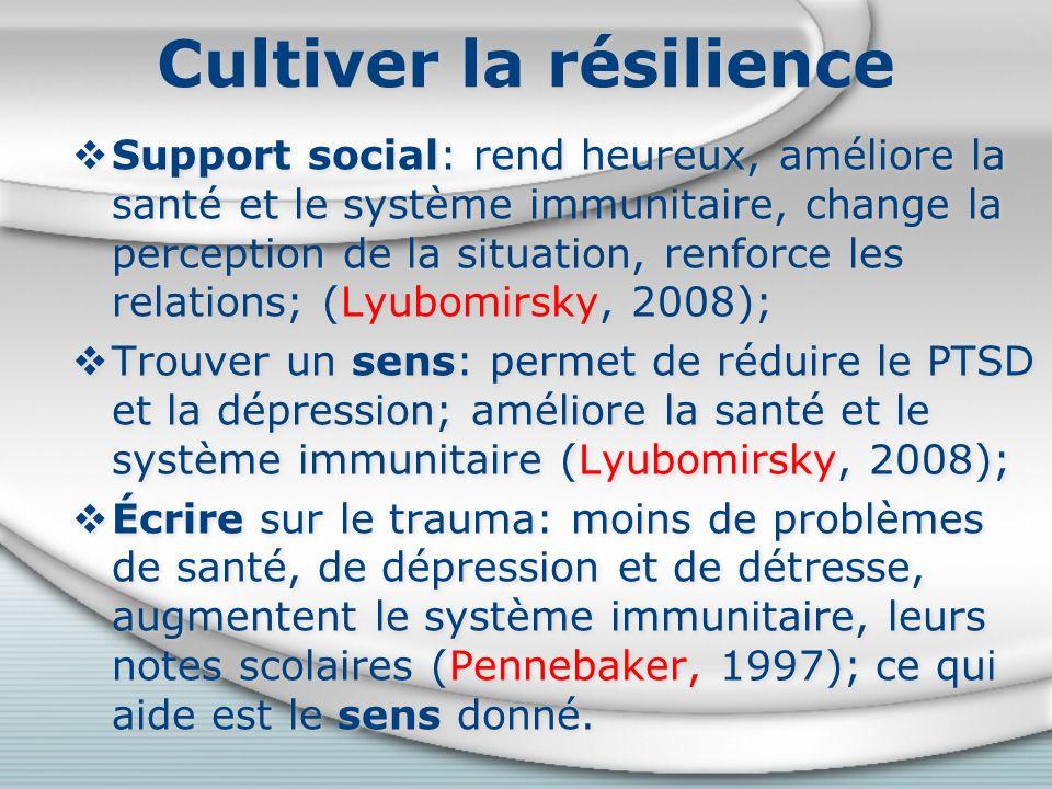 Cultiver la résilience