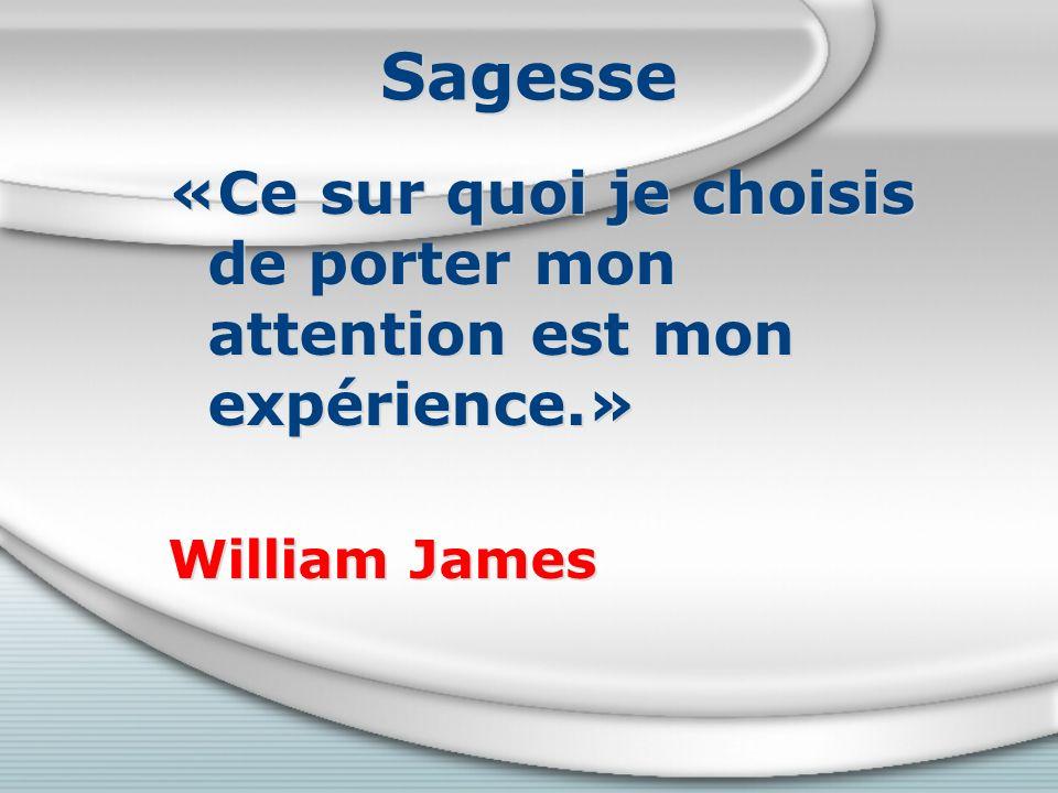 Sagesse «Ce sur quoi je choisis de porter mon attention est mon expérience.» William James