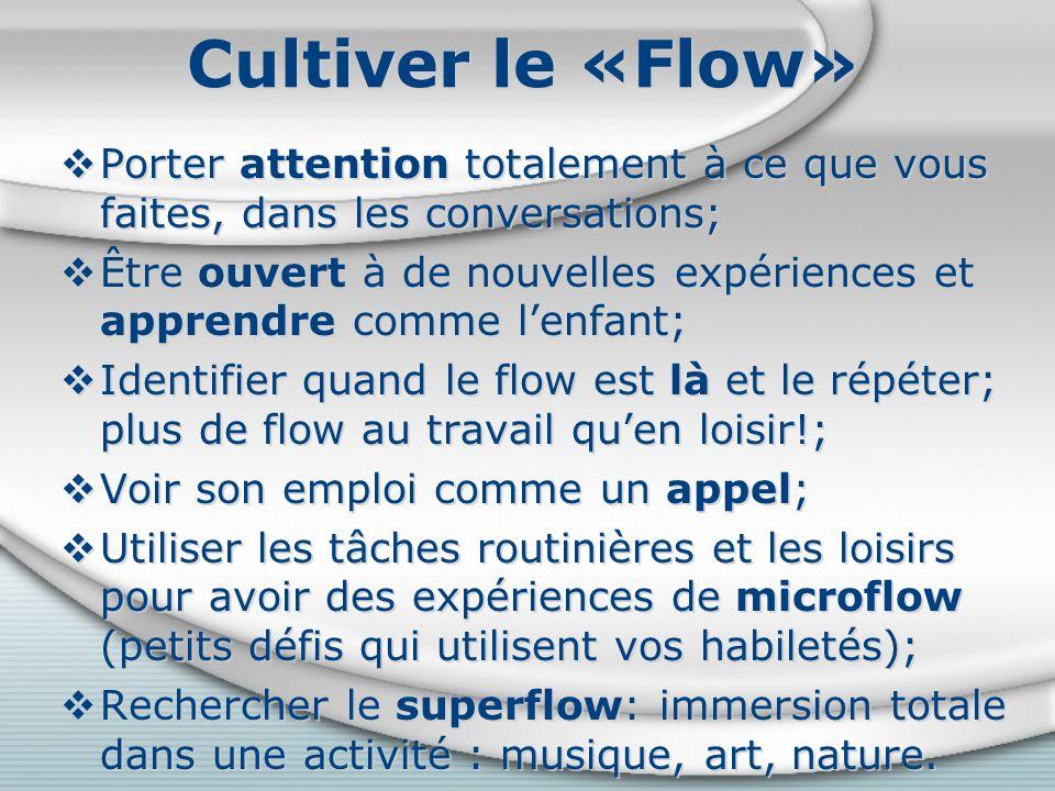 Cultiver le «Flow» Porter attention totalement à ce que vous faites, dans les conversations;
