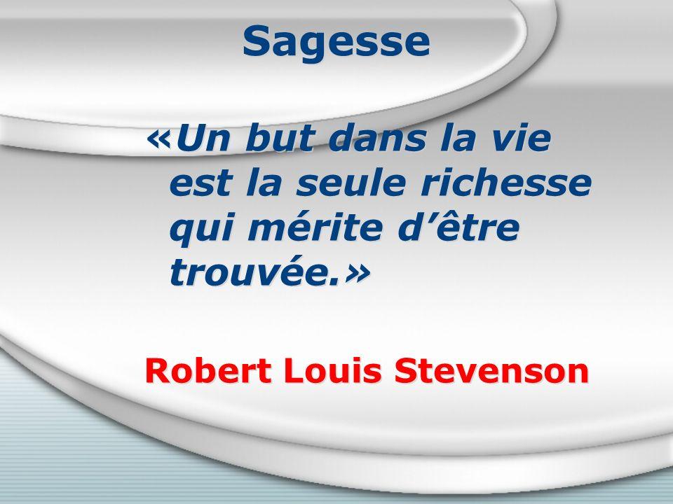 Sagesse «Un but dans la vie est la seule richesse qui mérite d'être trouvée.» Robert Louis Stevenson.