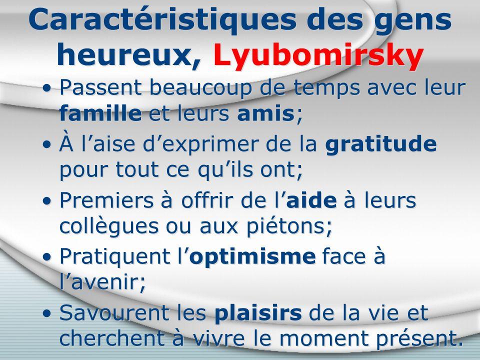 Caractéristiques des gens heureux, Lyubomirsky