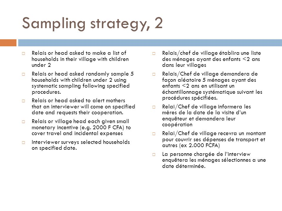 Sampling strategy, 2 Relais or head asked to make a list of households in their village with children under 2.