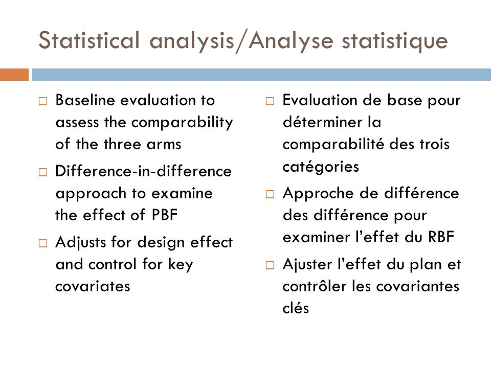 Statistical analysis/Analyse statistique