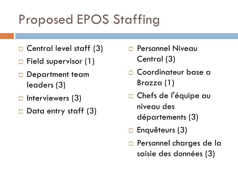 Proposed EPOS Staffing