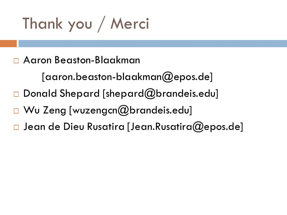 Thank you / Merci Aaron Beaston-Blaakman
