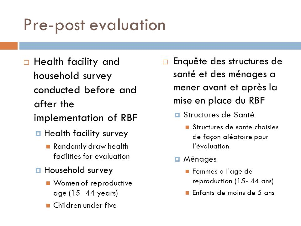 Pre-post evaluation Health facility and household survey conducted before and after the implementation of RBF.