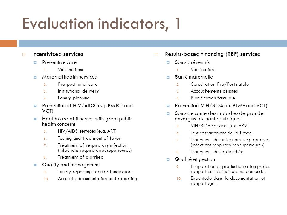 Evaluation indicators, 1